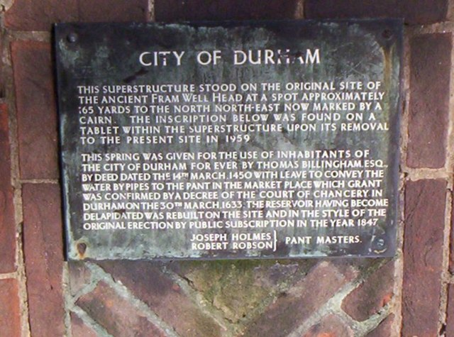 Notice about a well in Framwellgate, Durham City