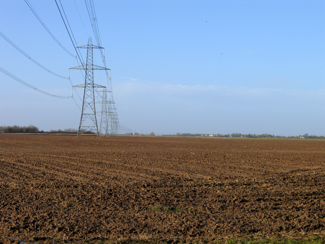Pylons crossing Donington Wykes, Donington, Lincs