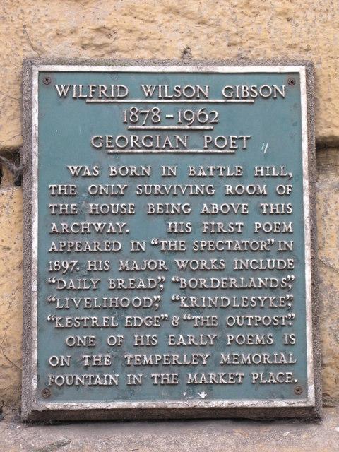 Plaque re Wilfrid Wilson Gibson, Georgian Poet