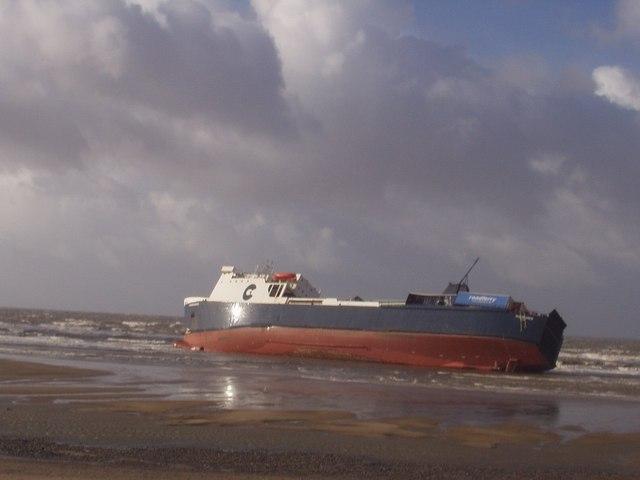 Freak wave washed boat ashore