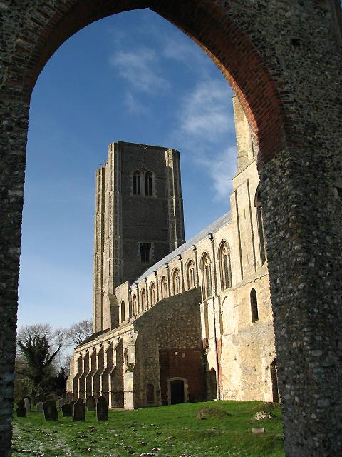 Wymondham Abbey - west tower viewed through ruined doorway