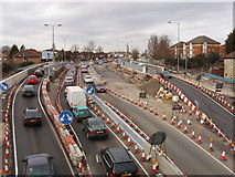 TQ2081 : Traffic on temporary bridge during replacement by David Hawgood
