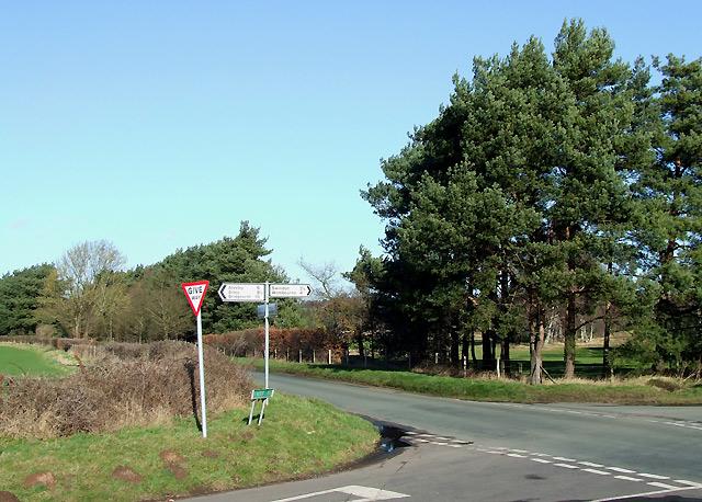 Crossroads south  of Highgate, Staffordshire