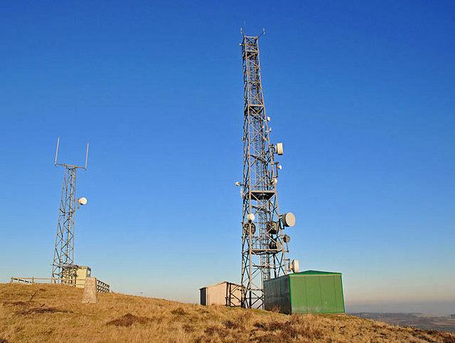 Radio masts on the summit of Milquhanzie Hill