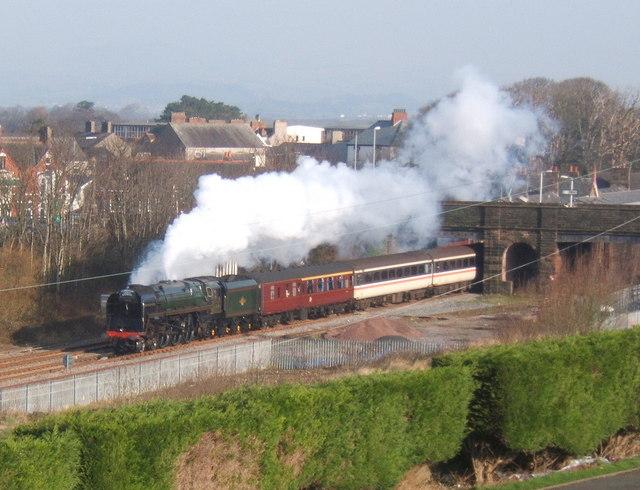 Steam train special passes through Millom
