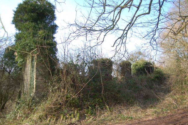 Ivy covered remains of Thorn Farm, Clicket