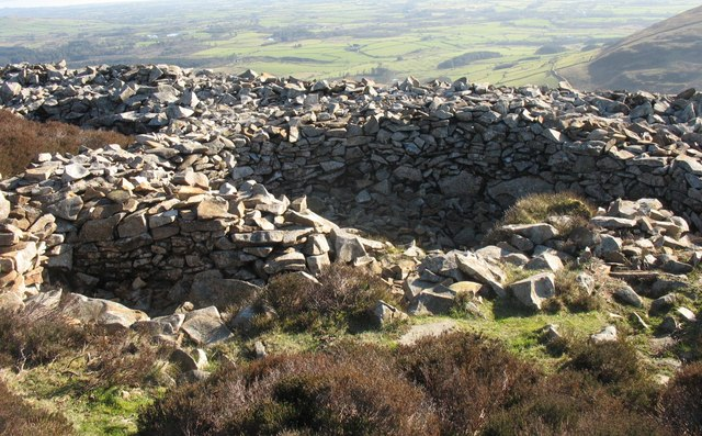 Round hut bases at the SE end of the Tre'r Ceiri hill fort