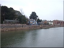 SX9291 : Port Royal Inn, River Exe in reduced flow by David Smith