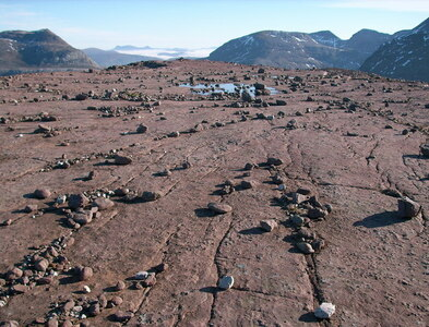 NG9363 : Boulder debris on Beinn a' Chearcaill summit by Stephen Middlemiss