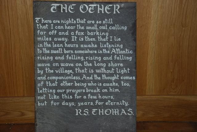Cerdd R  S Thomas Eglwys Hywyn Sant A Poem by R S Thomas