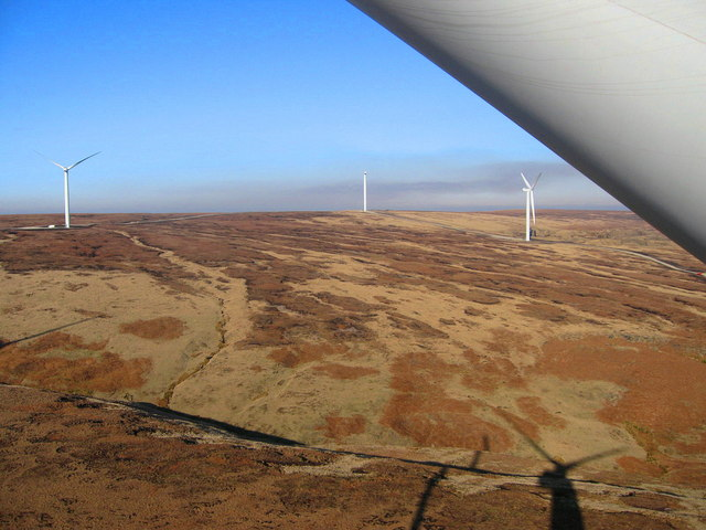 View from the top of Turbine Tower No 10 looking North