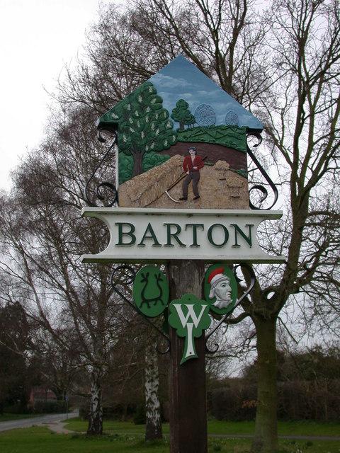 Barton Village Sign, east side