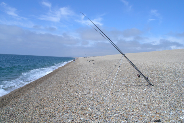 Unattended rod on Chesil Beach