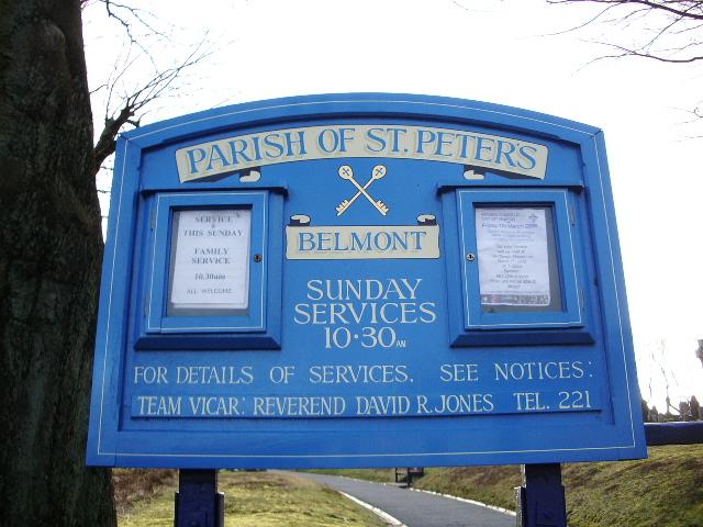 St Peters Parish Church, Belmont, Sign