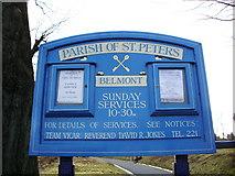 SD6715 : St Peters Parish Church, Belmont, Sign by Alexander P Kapp