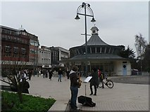 SZ0891 : Bournemouth: Square saxophonist by Chris Downer
