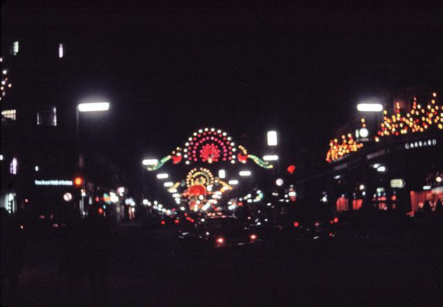 Christmas Lighting in Regent Street, London, taken in 1969
