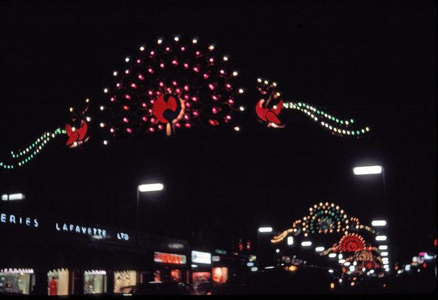 Christmas Lights in Regent Street, London, taken in 1969