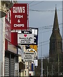 J5081 : Signs at Abbey Street, Bangor by Rossographer