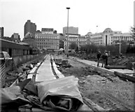 SJ8498 : Site for Piccadilly Gardens Metrolink station by Dr Neil Clifton