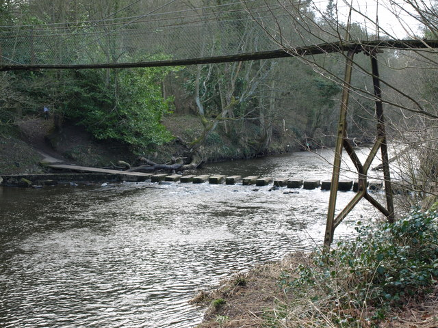 Stepping Stones and Private Suspension Bridge Over The Wansbeck At Bothal