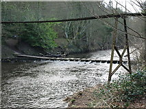 NZ2486 : Stepping Stones and Private Suspension Bridge Over The Wansbeck At Bothal by Kevin Richardson