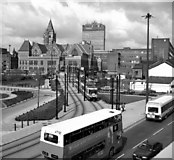 SJ8497 : View from Piccadilly Station. Manchester by Dr Neil Clifton