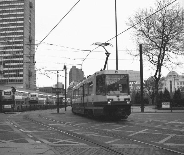 Crossing Portland Street, Manchester