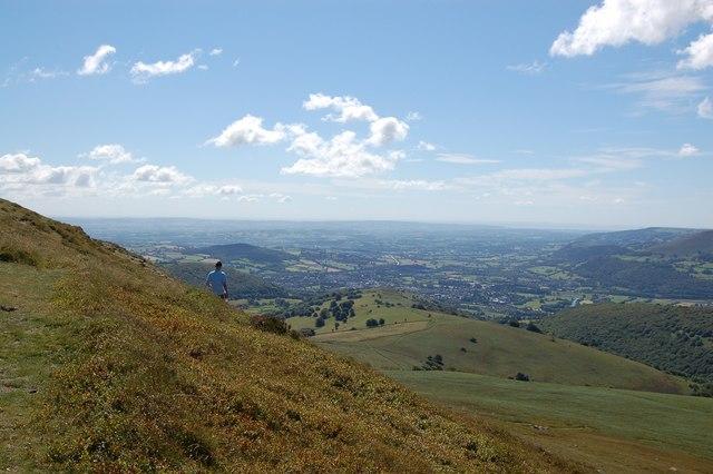 Sugar Loaf summit: view towards Abergavenny