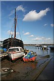 TM2038 : Boats moored at Pin Mill by Bob Jones
