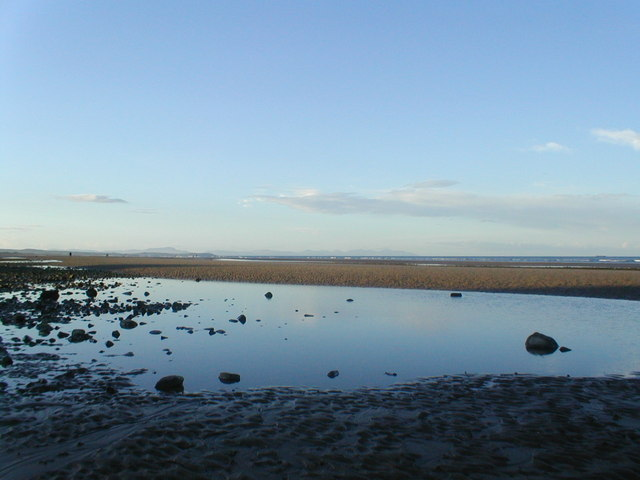 Evening on the beach at low tide