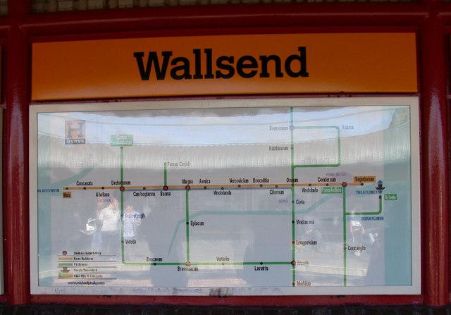 Hadrian's Wall map, Wallsend Metro station