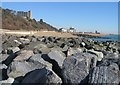 TR2235 : Rock groynes & Folkestone Harbour by Sandy B