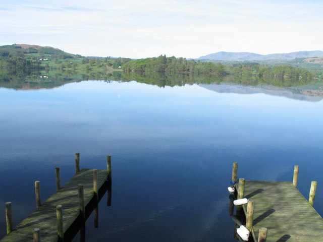Looking across Lake Windermere from the landing stage at Langdale Chase Hotel