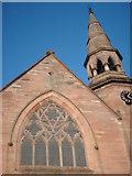 NS5564 : Ibrox Church window and Spire by Lynn M Reid