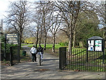 TQ3289 : Entrance to Downhills Park, West Green by Danny P Robinson