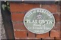 SO5239 : Plaque on Plas Gwyn by Pauline E