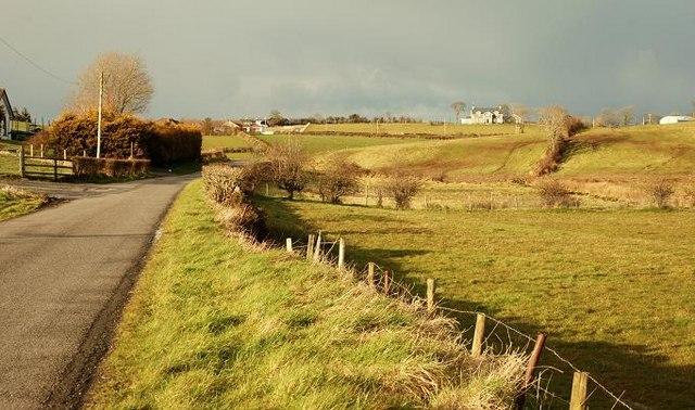 Countryside and minor road near Hillsborough
