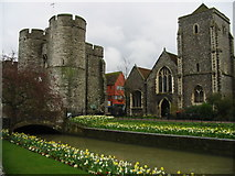 TR1458 : The West Gate towers, Holy Cross Church and Great Stour by Nick Smith