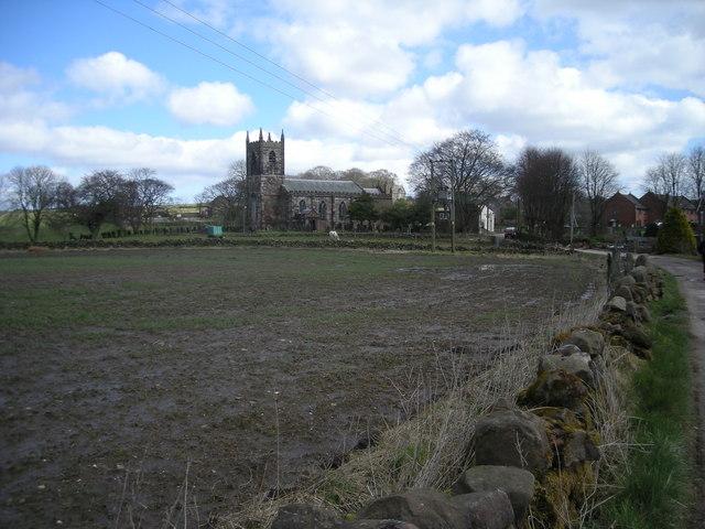 Across the fields to Ipstones church