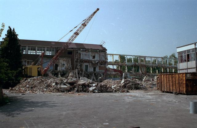 Demolition of John Ruskin School, Shirley, Croydon
