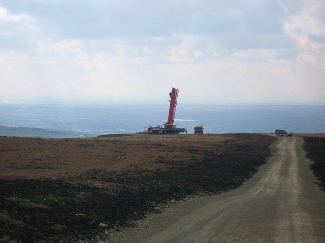 Scout Moor Wind Farm under construction Tower No 3