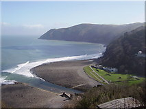 SS7249 : Lynmouth beach from Lynton by Diane Sambrook