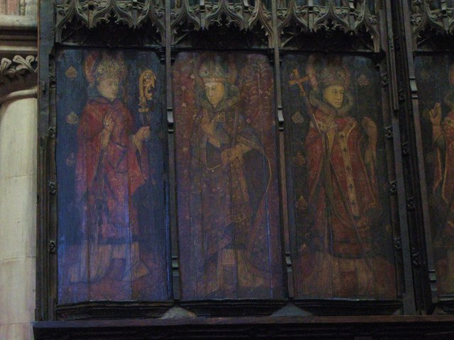 The seven canonised Saxon bishops of Hexham (part 1), former reredos, Hexham Abbey