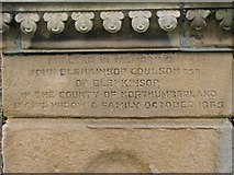 NY6565 : Inscription on the water fountain, Greenhead by Mike Quinn