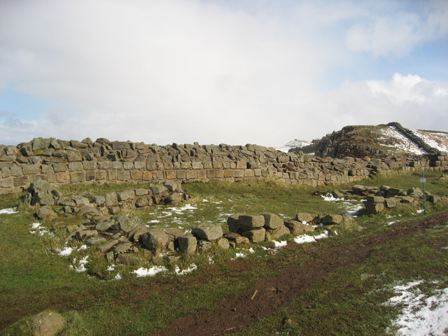 Remains of two 16th C buildings behind Hadrian's Wall near Sycamore Gap