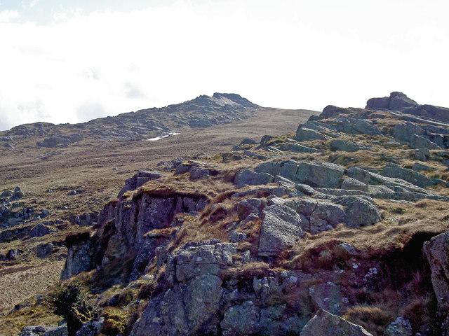 Approaching the summit ridge of Craig Eigiau