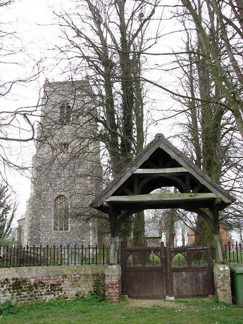 The church of St Swithin and lych gate, Frettenham