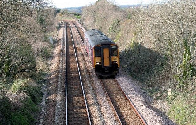 Liskeard to Plymouth local train nr Trerulefoot