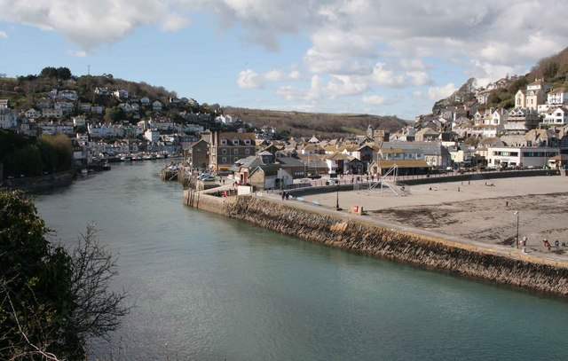 West and East Looe with the river  from Hannafore road